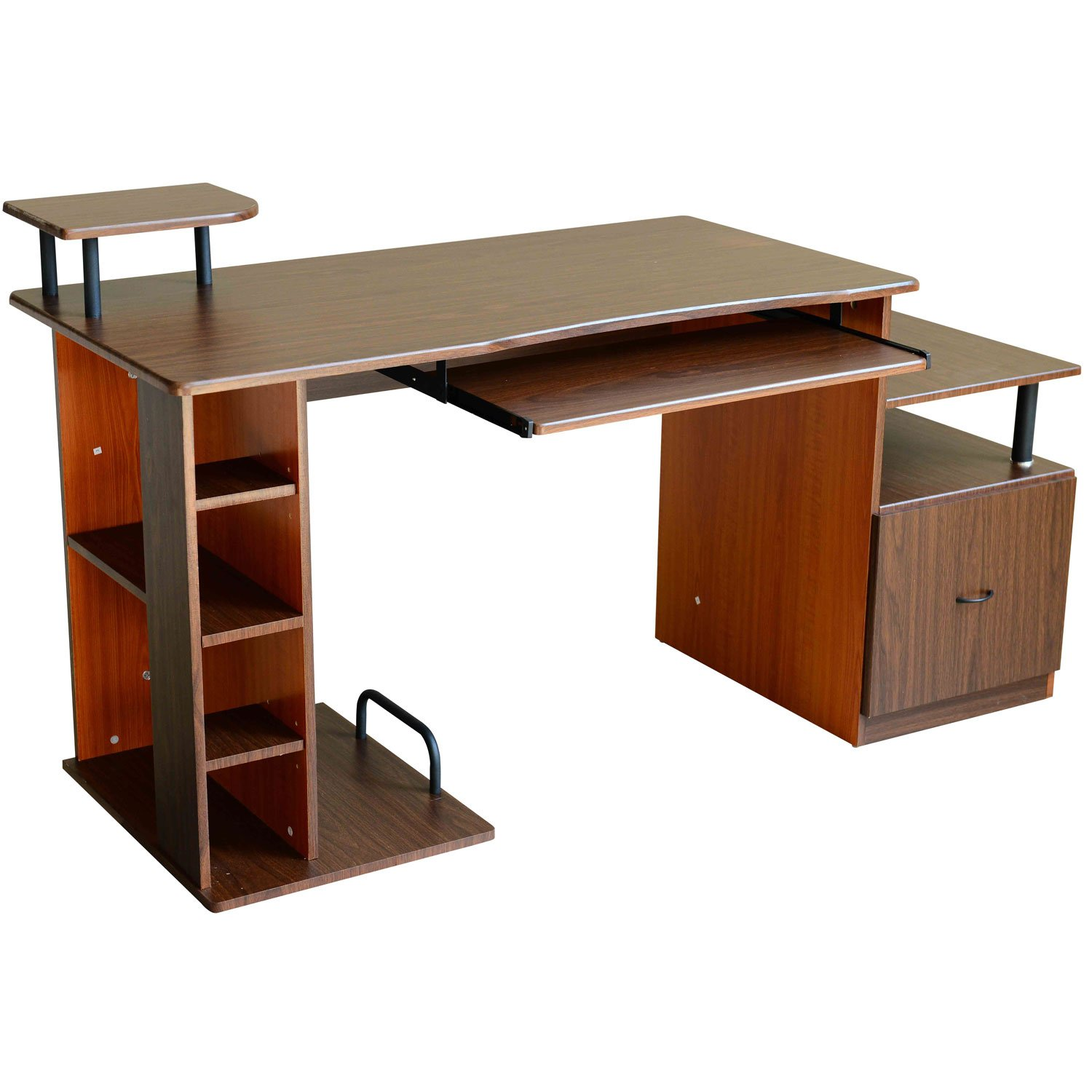 HomCom Multi-Level Home Office / Dorm Computer Desk - Dark Walnut / Golden Oak at Sears.com