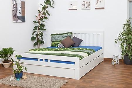 """Bettgestell / Funktionsbett """"Easy Sleep"""" K8 inkl. 4 Schubladen und 2 Abdeckblenden, 180 x 200 cm Buche Vollholz massiv weiß lackiert"""