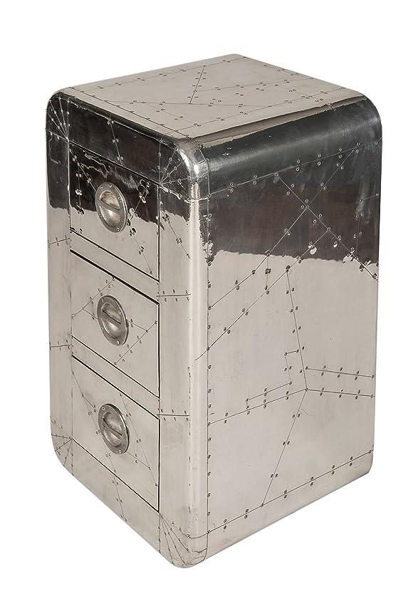 SIT-Möbel 1711-21, Mobiletto con 3 cassetti Airman, in metallo con linee di giunzione e viti decorative, circa 45 x 40 x 80 cm, Argento (Silber)