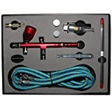 HUBEST NEW Professional 0.2mm\0.3mm\0.5mm Dual action Airbrush Kit Spray Paint Gun Kit Complete Set for General-purpose Art-and-craft Projects Model-railroad Detailing R/C Kits