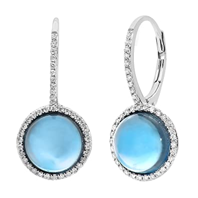 Naava 9 ct White Gold Diamond and Round 5.30 ct Blue Topaz Gemstone Drop Earrings