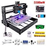 2-in-1 5500mW Laser Engraver CNC 3018 Pro Engraving Machine, GRBL Control 3 Axis CNC Router Kit Wood Carving Engraving Machine with Offline Controller, Working Area 300x180x45mm