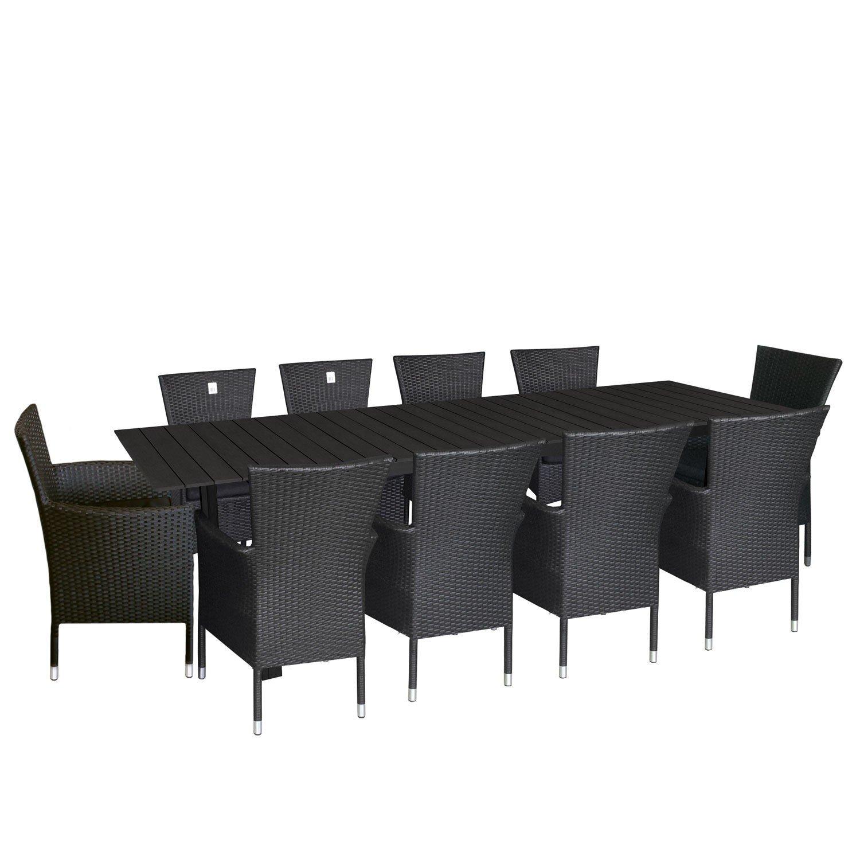 11tlg. Gartengarnitur Aluminium Gartentisch ausziehbar mit Polywood - Tischplatte 220/280x95cm stapelbare Polyrattan Gartensessel Rattansessel mit Sitzkissen Sitzgruppe Sitzgarnitur Gartenmöbel Schwarz