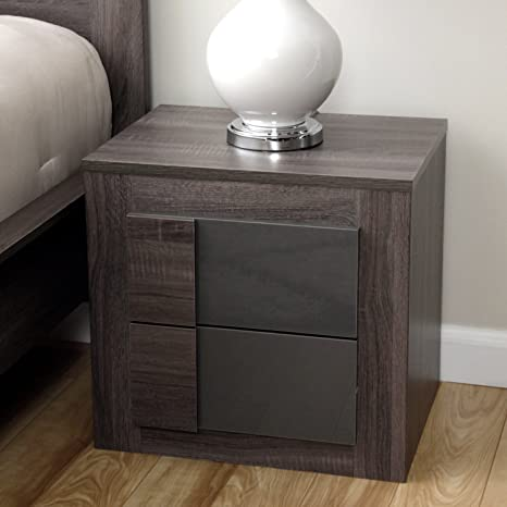 Simple Living - Maya Night Stand Furniture with 2 Drawers Featuring a Classic Dark Sonoma Oak with Uv High-gloss Grey (For Bedroom)