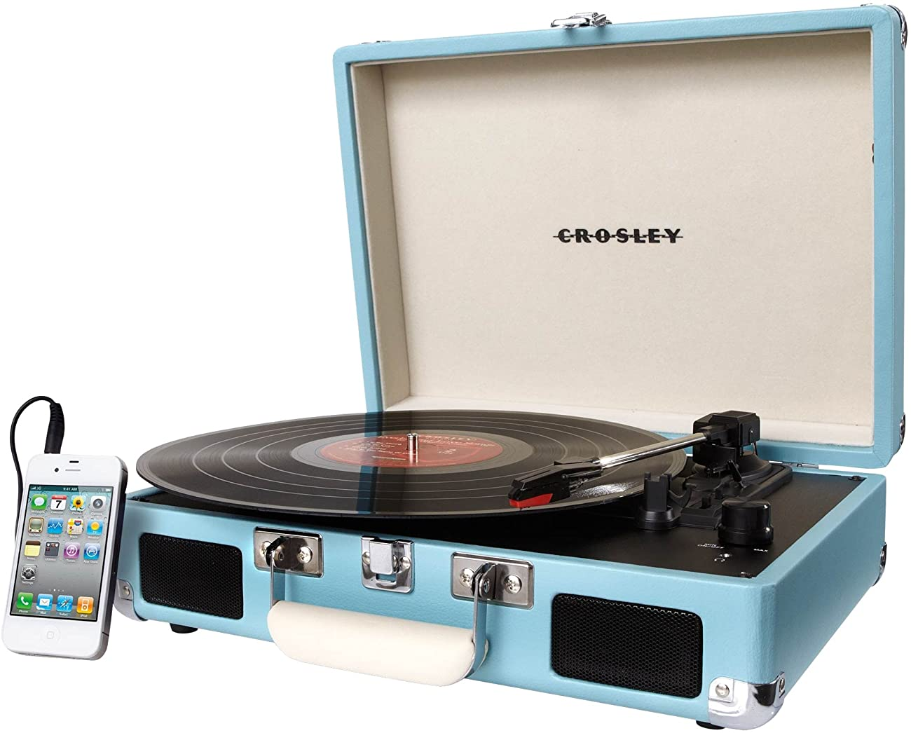 Crosley CR8005A-TU Cruiser Portable 3-Speed Turntable, Turquoise 4