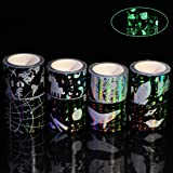 Laser Washi Tape Set Glow in The Dark Luminous Washi Tape Black washi Tape for DIY, Journals, Album, Daily Planners, Gift Wrapping, Office Party Supplies (8 Rolls) (Color: 8 Rolls)