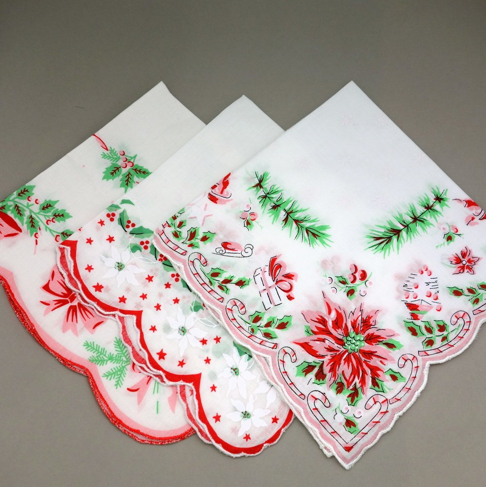 Holiday Christmas Red Green Cotton Ladies Print Handkerchiefs Hankie Hanky- Set of 3 0