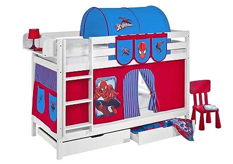 Certificato TÜV & GS letto a castello JELLE Spiderman-Letto a soppalco Lilo Kids in bianco-con tenda e reti a doghe