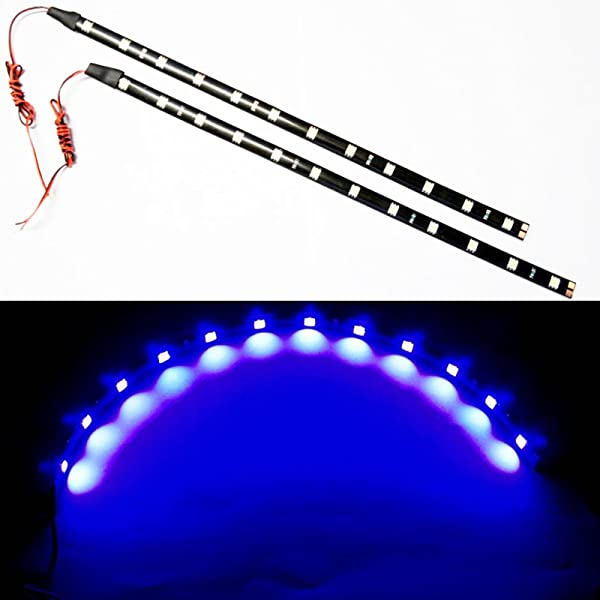 SOCAL-LED 2x 30cm 12 Blue Flexible LED Strips High Power Bright 5050 12 SMD Car DRL Under Dash Accent Light, Waterproof, Cuttable
