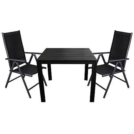 3tlg. Sitzgarnitur 2x Hochlehner mit 2x2 Textilenbespannung, Lehne um 7 Positionen verstellbar, klappbar + Aluminium Gartentisch 90x90cm, Polywood Tischplatte - Gartenmöbel Sitzgruppe Sitzgarnitur