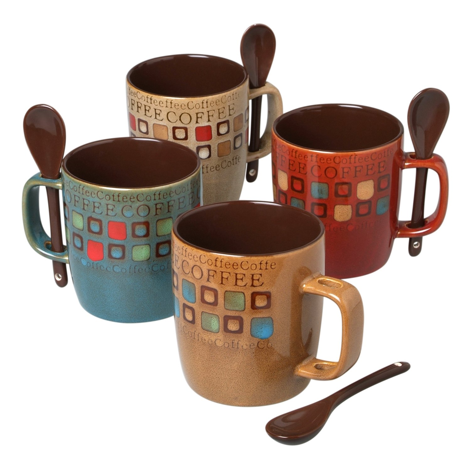Mr. Coffee 8-Piece Cafe Americano Mug Set with Spoons, 13-Ounce