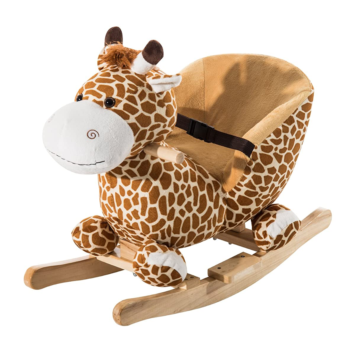 Qaba Kids Plush Rocking Horse-Style Giraffe Theme Chair