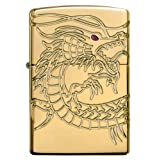 Zippo Chinese Dragon Armor High Polish Gold Plate Pocket Lighter