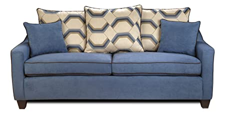 Chelsea Home Furniture Georgia Sofa, Victory Galaxy/Sussex Cobalt/Flatsuede Chocolate