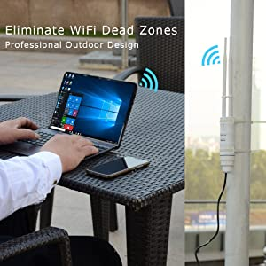 GALAWAY WiFi Range Extender Dual Band 2.4G + 5G 600Mbps WiFi Extender Range Repeater Internet Signal Booster Amplifier in PoE & 2 Antennas Used for Outdoor WiFi Coverage (Color: W0)
