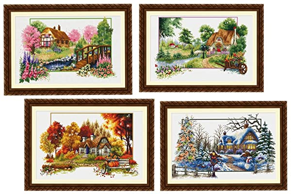 TINMI ATRS 4 Pack DIY Stamped Cross Stitch Landscape Kits Thread Needlework Embroidery Printed Pattern 11CT Home Decoration Four Seasons (Color: 4 pack)