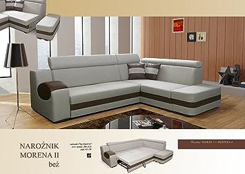 Ecksofa-beige–Sleep Funktion, Bett container- Stoff & Kunstleder–Moraine II, holz Textil Kunstleder, beige, Vier Sitze