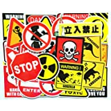 50 Pieces Warning Stickers Prohibition Sign Waterproof Funny Paper Sticker Cool Decoration for Luggage Box Skateboard Phone Laptop Moto Trunk Guitar Car Helmet (Color: Warning Stickers)