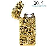 Kivors Dragon Lighter USB Rechargeable Battery Windproof Plasma Arc Pulse Electronic Metal Cigarette Lighter, Shake to Induction Lighter (Color: Gold-4)
