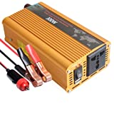 Tellunow 12V Pure Sine Wave Power Inverter 300W DC to 110V AC Alternating Current Converter Charger DC Inverters with Business Travel Converter (300W) (Color: Orange)