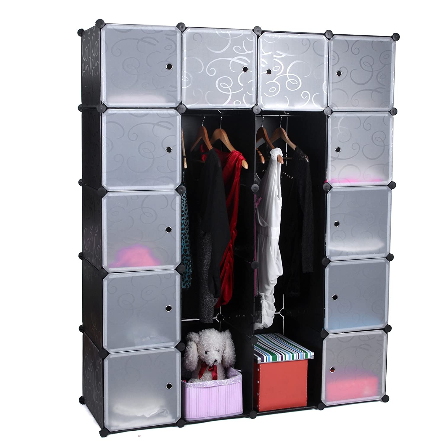 rezension songmics diy kleiderschrank garderobenschrank aufbewahrung steckregalsystem mit 2. Black Bedroom Furniture Sets. Home Design Ideas