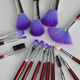 Aoile Makeup Cosmetic Brushes Set 16PCS with Purple Case Pouch Bag for Eyeshadow Lip Eyeliner Face Powder by Aoile