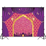 Funnytree 8x6ft Durable Fabric Magic Genie Theme Party Backdrop No Wrinkles Egyptian Moroccan Arabian Gold Indian Bollywood Birthday Photography Background Baby Shower Photo Booth Decorations Banner (Color: party-1, Tamaño: 8'x6' Durable Fabric)