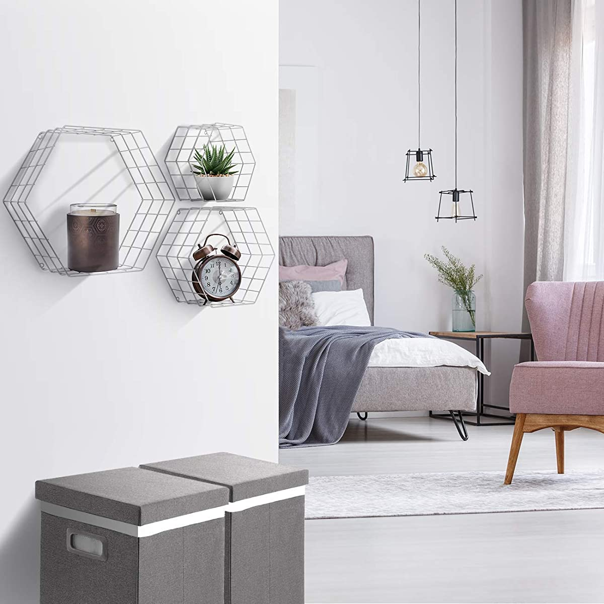 Sorbus Floating Hexagon Shelves - Wall-Mounted Geometric Metal Wall Décor for Photos, Collectibles, Plants, and More (Metal Hexagon - White)