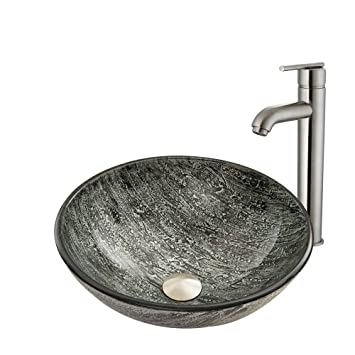 VIGO Titanium Glass Vessel Bathroom Sink and Seville Vessel Faucet with Pop Up, Brushed Nickel