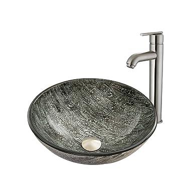 VIGO Titanium Glass Vessel Bathroom Sink and Seville Vessel Faucet with Pop Up, Brushed Nickel