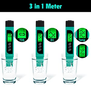 Water Quality Tester, Accurate and Reliable, TDS Meter, EC Meter & Temperature Meter 3 in 1, Ideal Water Test Meter for Drinking Water, Aquariums