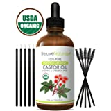 Castor Oil (4oz) USDA Certified Organic, 100% Pure, Cold Pressed, Hexane Free by RejuveNaturals. Boost Hair Growth for Eyelashes, Eyebrows & Hair. Eyelash Growth Serum & Brow Treatment w/Mascara Kit (Tamaño: 4 oz)