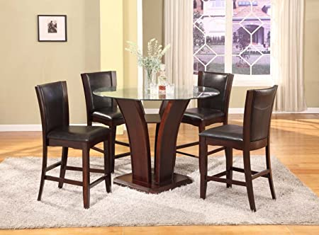 Roundhill Furniture Clar 5-Piece  Glass Top Counter Height Dining Set , Espresso Finish