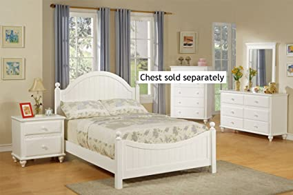 4pcs Full Size Bedroom Set - Cape Cod Style White Finish