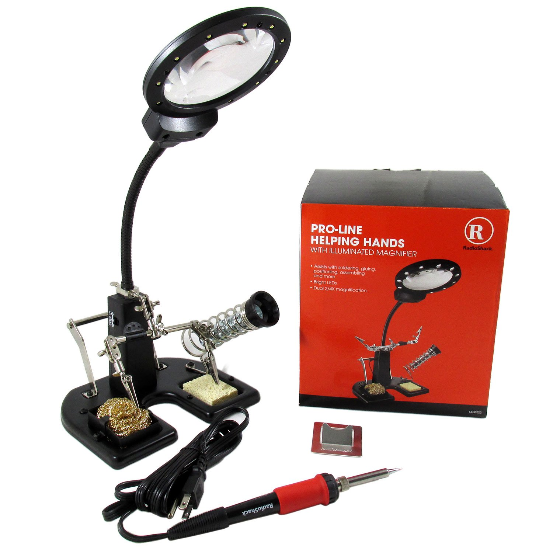 pro line helping hands soldering station with illuminated magnifier 15 watt ebay. Black Bedroom Furniture Sets. Home Design Ideas
