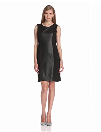 Anne Klein Women's Leather Panel Sheath Dress, Black, 2
