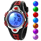 Kid Watch Multi Function Digital LED Sport 50M Waterproof Electronic Digital Watches for Boy Girl Children Gift Red (Color: Red)