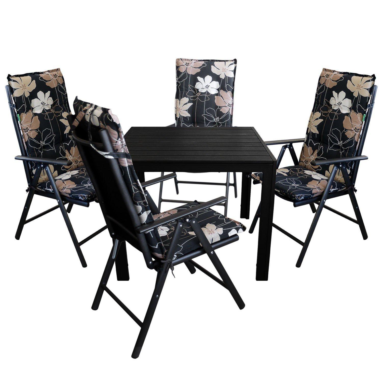 9tlg. Gartengarnitur - Aluminium Gartentisch 90x90cm, Polywood Tischplatte + 4x Hochlehner, hochwertige 2x2 Textilenbespannung, Lehne um 7 Positionen verstellbar, klappbar + 4x Stuhlauflage - Gartenmöbel Terrassenmöbel Sitzgruppe Sitzgarn