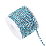 BENECREAT 10 Yard Crystal Rhinestone Close Chain Clear Trimming Claw Chain Sewing Craft About 1440pcs Rhinestones, 3mm - Blue(Silver Bottom) (Color: Blue (Silver Bottom), Tamaño: 3mm)