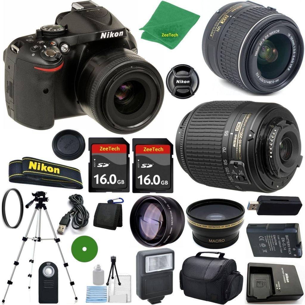 Nikon D5200 24.1 MP CMOS Digital SLR, NIKKOR 18-55mm f/3.5-5.6 Auto Focus-S DX VR, Nikon 55-200mm f4-5.6G ED Auto Focus-S DX Nikkor, 2pcs 16GB ZeeTech Memory, Case, Wide Angle, Telephoto, Flash