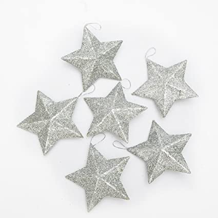 Silver Glitter Star Christmas Ornaments - Pack of 12 by Deercon