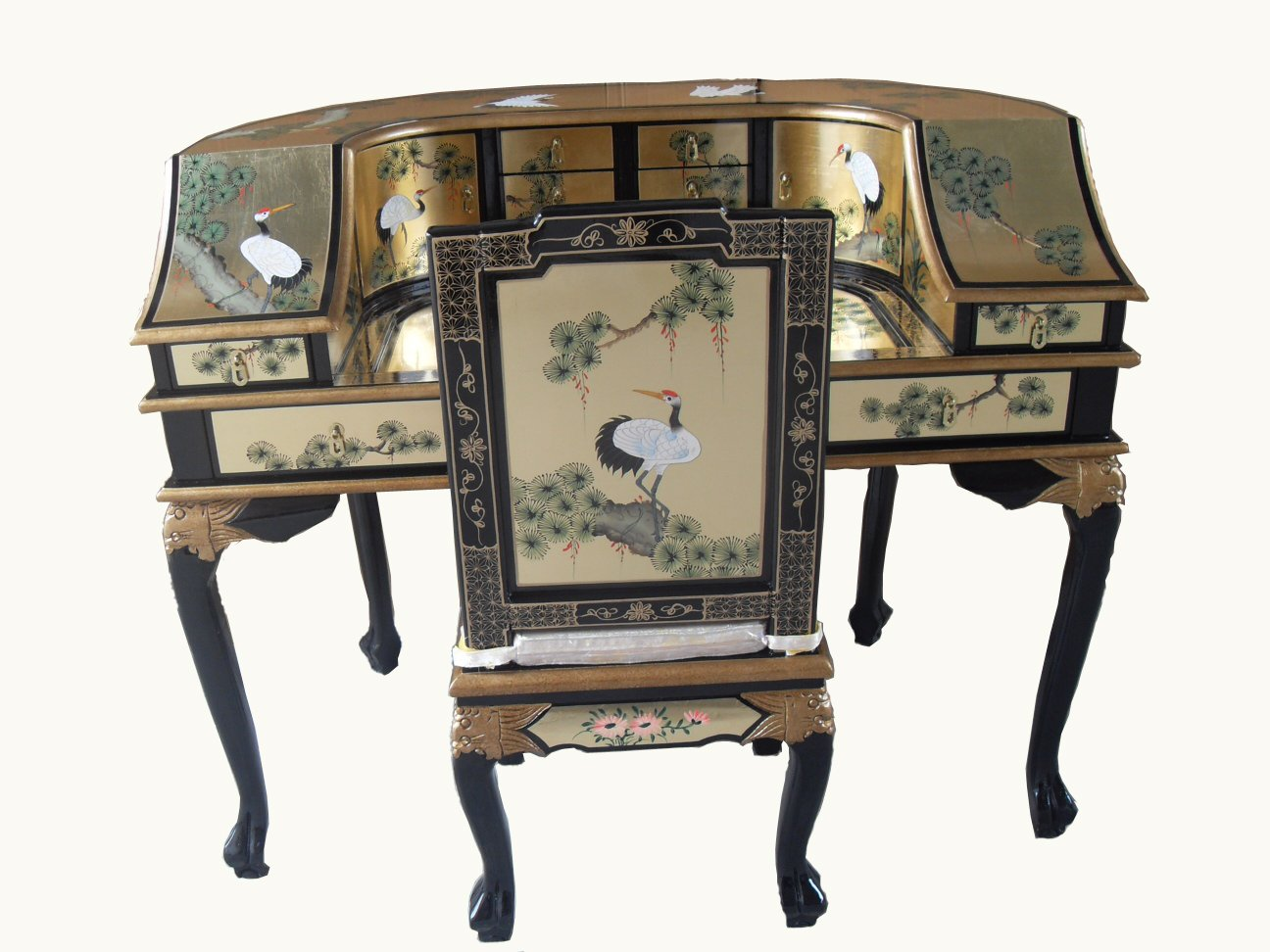 Gold Leaf Desk w/Chair, Oriental Chinese Furniture       review and more news