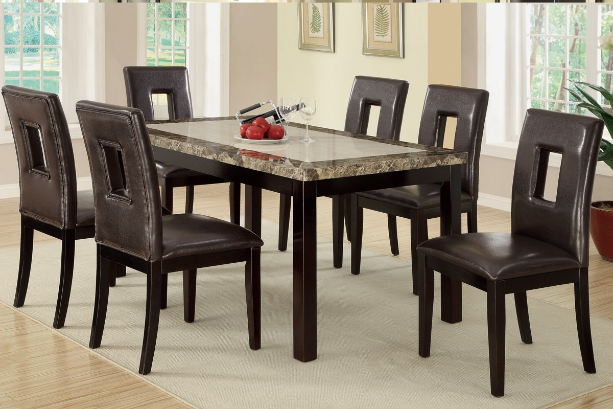 7 Pieces Dining Set With Marble Look Top And Faux Leather Seats (White)