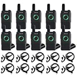 Retevis RT18 Walkie Talkies for Adults Long Range FRS Radios Two Way Radio with Headsets Earpiece (10 Pack) (Color: Black)