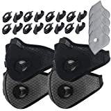 Dustproof Masks - 4 Pack Activated Carbon Dust Mask with Extra Filter Cotton Sheet and Valves for Exhaust Gas, Pollen Allergy, PM2.5, Running, Cycling, Outdoor Activities (Black+Black and Gray+Gray) (Color: 4 Set Black+Gray)