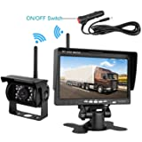 Emmako Backup Camera Built-in Wireless and 7 Display Monitor Kit Rear View Camera Parking System Working Distance Range Over 100 Foot Waterproof Night Vision For Truck/Trailers/RV/5th Wheel