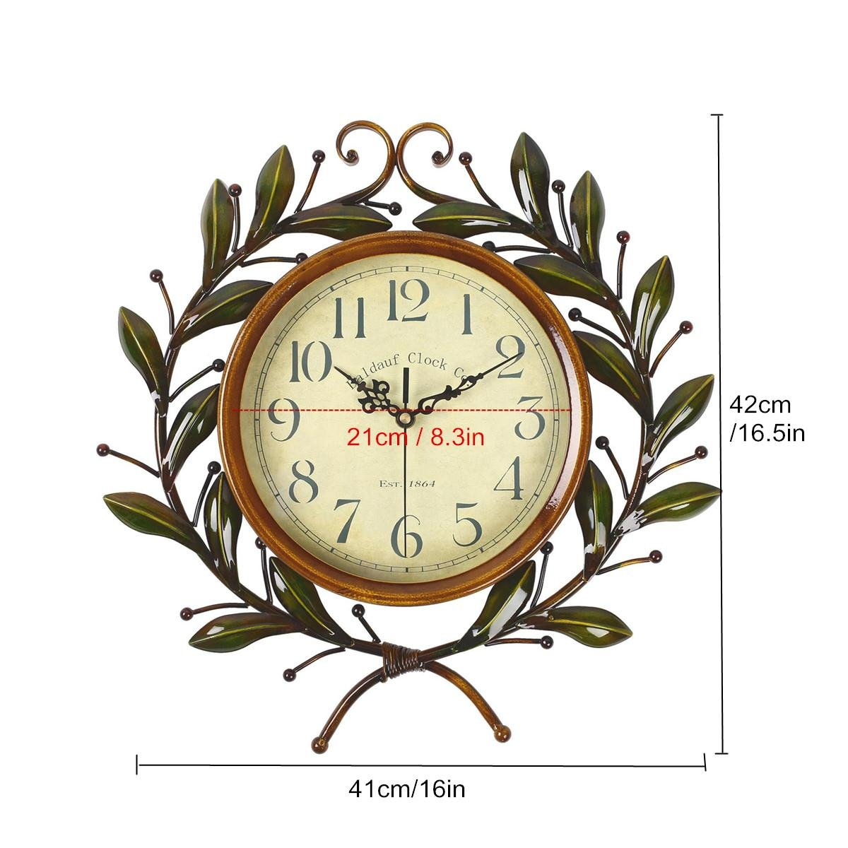 Soledi Vintage Wall Clock Classic Silent Non-ticking For Home Decoration Olive Branch Design 1