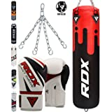 RDX Punching Bag Maya Hide Leather 4FT 5FT UNFILLED MMA Boxing Punching Gloves Muay Thai Kickboxing Training (Color: Black/Red, Tamaño: 5FT-16oz)