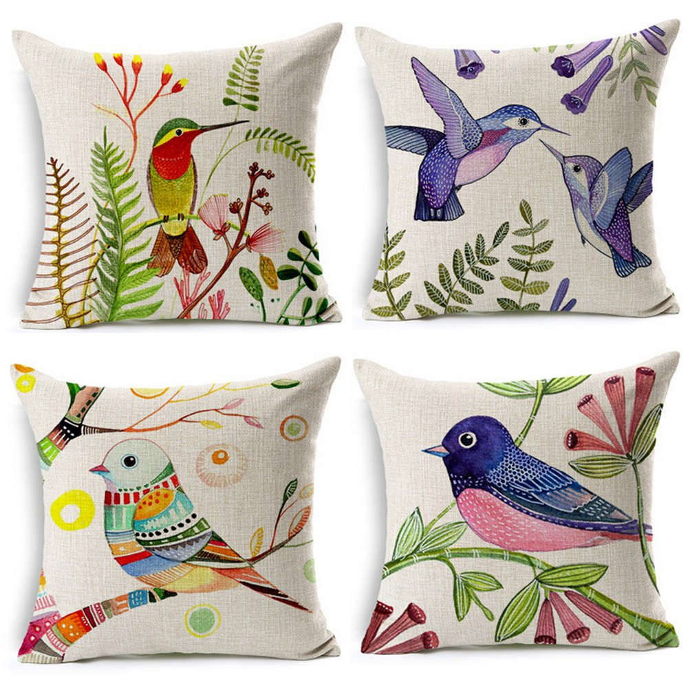 Hand Painted Style Throw Pillow birds