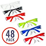 48 Pack of Safety Glasses (48 Protective Goggles in 6 Different Colors) Crystal Clear Eye Protection - Perfect for Construction, Shooting, Lab Work, and More! (Color: Clear, Tamaño: 48 Pack)